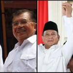 Pasangan Joko Widodo-Jusuf Kalla (kiri) saat deklarasi di Gedong Joang, Jakarta, dan pasangan Prabowo Subianto-Hatta Rajasa saat deklarasi di Rumah Polonia, Jakarta, Senin (18/5/2014)   Foto: TRIBUNNEWS/DANY PERMANA dan WARTA KOTA/ANGGA BHAGYA NUGRAHA