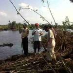 Sungai yang baru terbentuk pasca banjir besar melanda Aceh Utara |Foto: Chairul Sya'ban